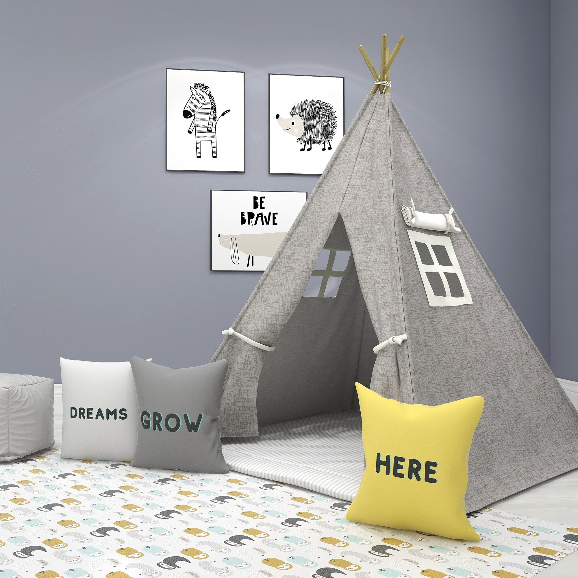The Calm Gray Kids Teepee