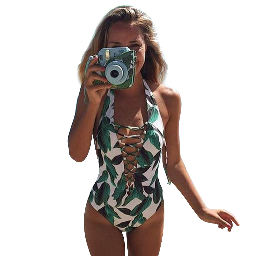 Women's Leaf Crisscross One Piece Swimsuit