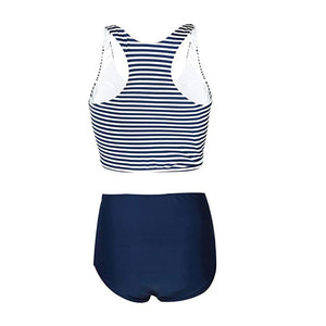 Women's Solid High Waist Bottom & Crop Top Swim Suit