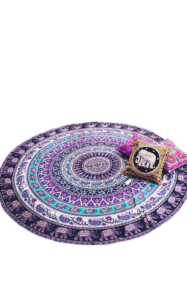 Round Elephant Beach Blanket Tapestry