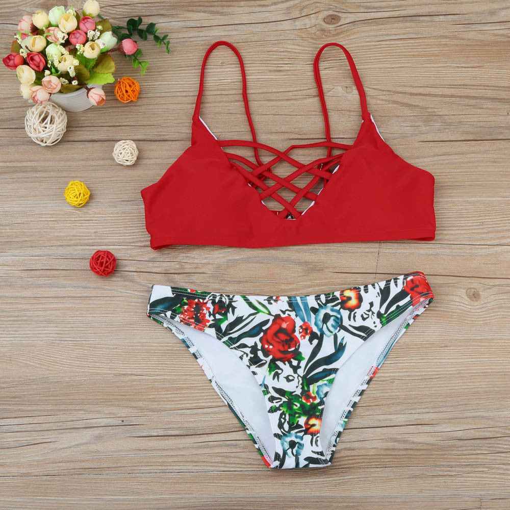 Women's Red and Floral Bikini