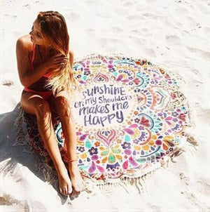 'Sunshine on My Shoulders Makes Me Happy' Beach Blanket