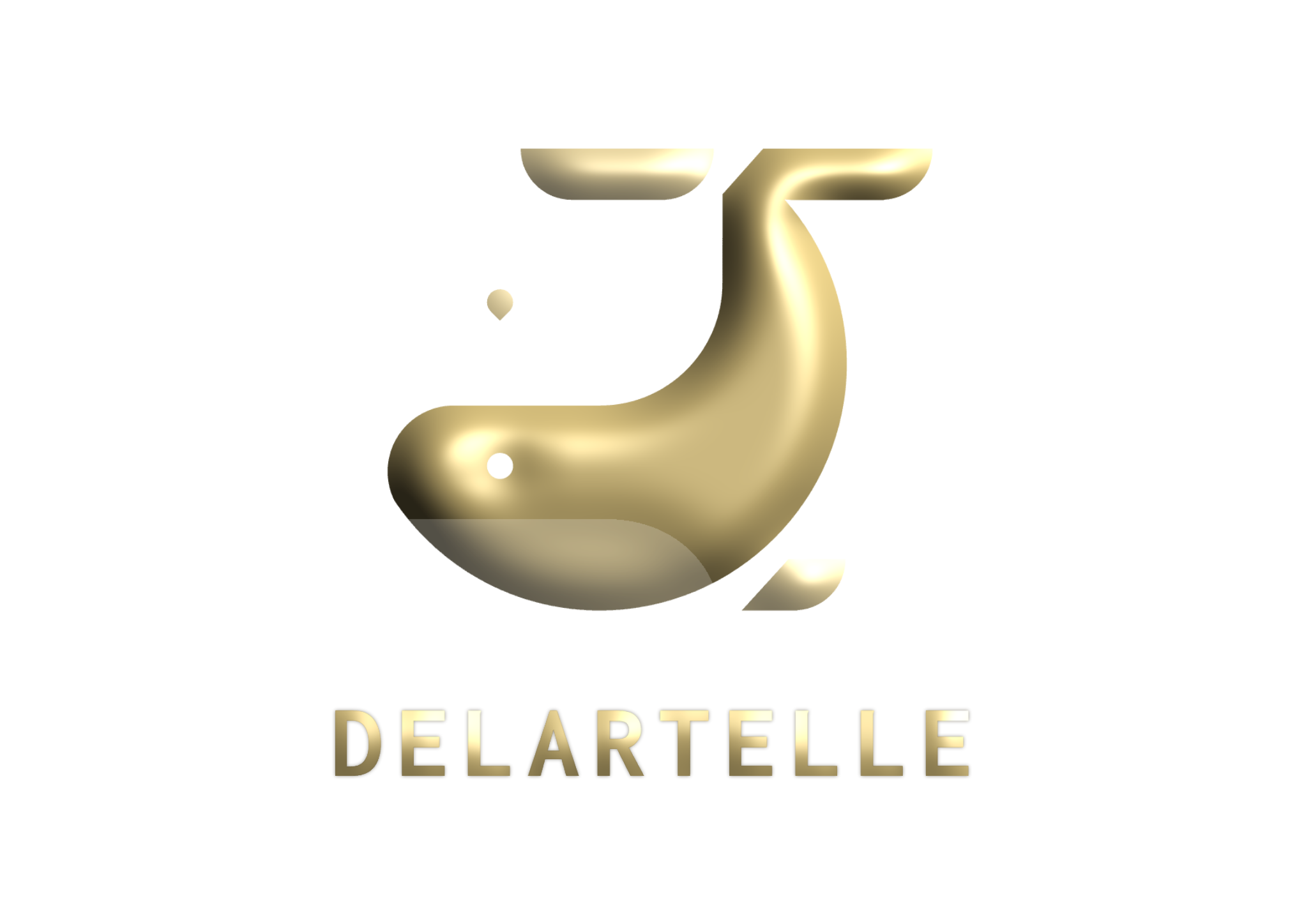 Golden whale with the words delartelle