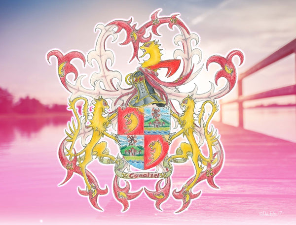 Canalsell Coat of Arms with Lion crest and pink background