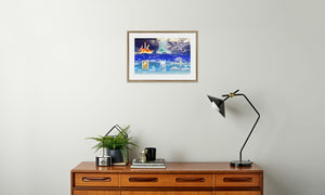 Fire Wind and Lightning; Sun Moon and Heavens Framed & Mounted Print in room (sideboard), natural frame, mounted, perspex, size: 17x24""