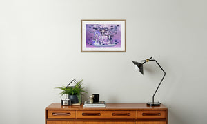 Electric Storm Dragon Framed & Mounted Print in room (sideboard), natural frame, mounted, perspex, size: 17x24""