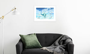 Jade Wind Crane Framed & Mounted Print in room (sofa), white frame, mounted, perspex, size: 17x24""