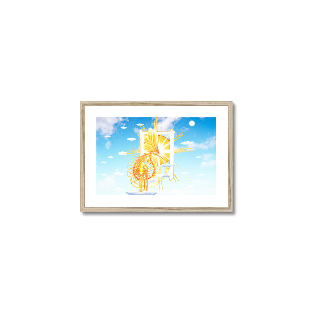 Golden Sun Dragon Framed & Mounted Print in head on, natural frame, mounted, perspex, size: 17x24
