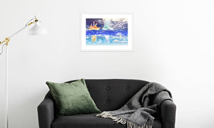 Fire Wind and Lightning; Sun Moon and Heavens Framed & Mounted Print in room (sofa), white frame, mounted, perspex, size: 17x24""