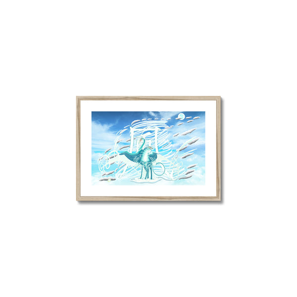 Jade Wind Crane Framed & Mounted Print in head on, natural frame, mounted, perspex, size: 17x24""