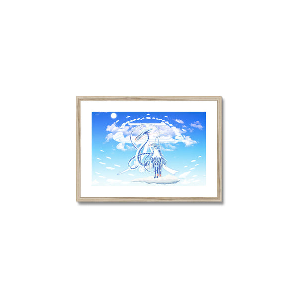 Azure Dragon of the Heavens Framed & Mounted Print in head on, natural frame, mounted, perspex, size: 17x24""