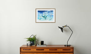 Jade Wind Crane Framed & Mounted Print in room (sideboard), natural frame, mounted, perspex, size: 17x24""