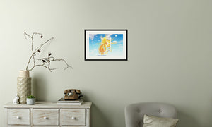 Golden Sun Dragon Framed & Mounted Print in room (phone), black frame, mounted, perspex, size: 17x24""