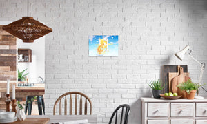 Golden Sun Dragon Canvas Print in editorial (dining room), wrap: white, size: 12x18""