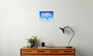 Azure Dragon of the Heavens Canvas Print in room (sideboard), wrap: white, size: 12x18""