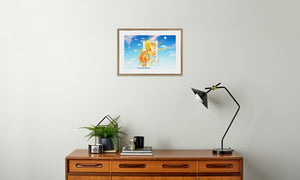 Golden Sun Dragon Framed & Mounted Print in room (sideboard), natural frame, mounted, perspex, size: 17x24""