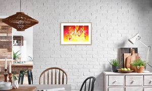 Ruby Fire Phoenix Framed & Mounted Print in editorial (dining room), natural frame, mounted, perspex, size: 17x24""