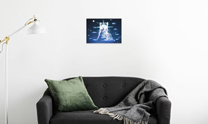 Silver Moon Unicorn Canvas Print in room (sofa), wrap: white, size: 12x18""