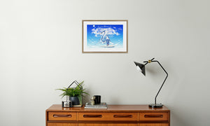 Azure Dragon of the Heavens Framed & Mounted Print in room (sideboard), natural frame, mounted, perspex, size: 17x24""