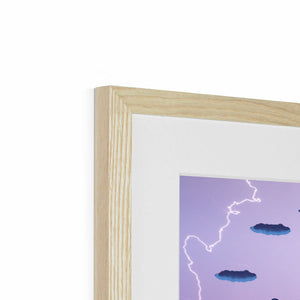 Electric Storm Dragon Framed & Mounted Print in corner, natural frame, mounted, perspex, size: 17x24""