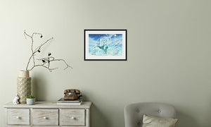 Jade Wind Crane Framed & Mounted Print in room (phone), black frame, mounted, perspex, size: 17x24""