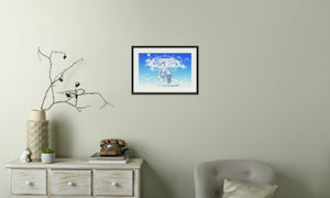 Azure Dragon of the Heavens Framed & Mounted Print in room (phone), black frame, mounted, perspex, size: 17x24""