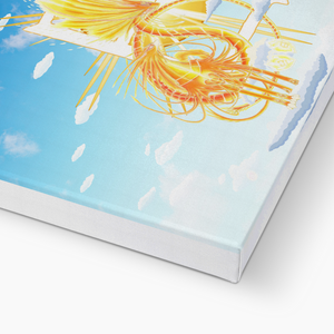 Golden Sun Dragon Canvas Print in closeup, wrap: white, size: 12x18""
