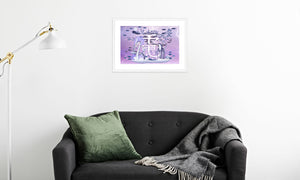 Electric Storm Dragon Framed & Mounted Print in room (sofa), white frame, mounted, perspex, size: 17x24""