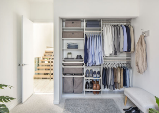 organized closet in a room