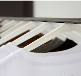 white T-shirts in a row