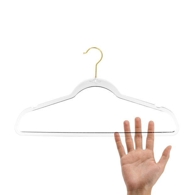 Closet Complete Acrylic Hangers 10 / Gold Completely Clear Invisible Acrylic Hangers