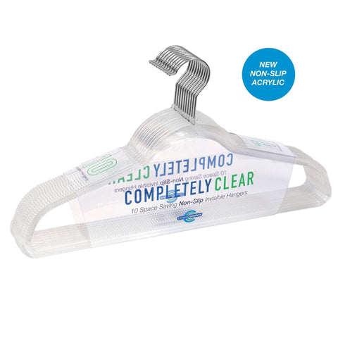 Closet Complete Acrylic Hangers 10 / Chrome Completely Clear Non-Slip Invisible Acrylic Hangers