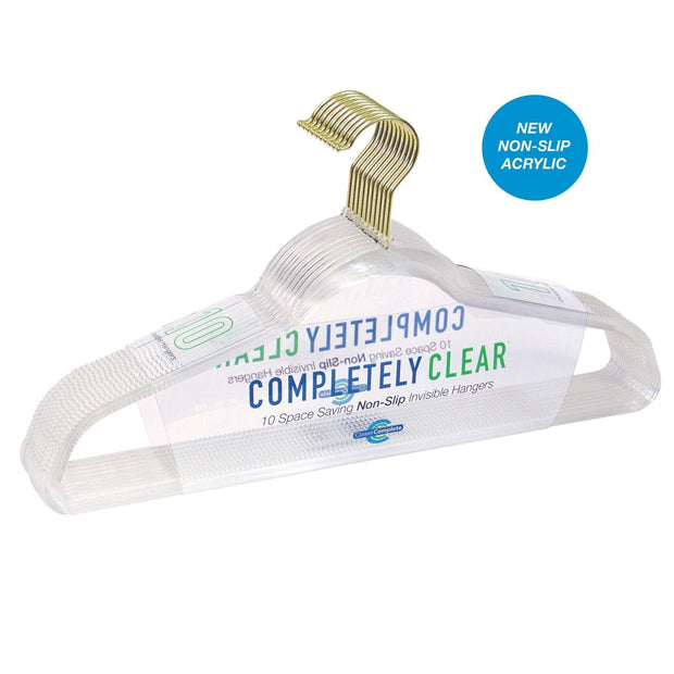 Closet Complete Acrylic Hangers 10 / Gold Completely Clear Non-Slip Invisible Acrylic Hangers