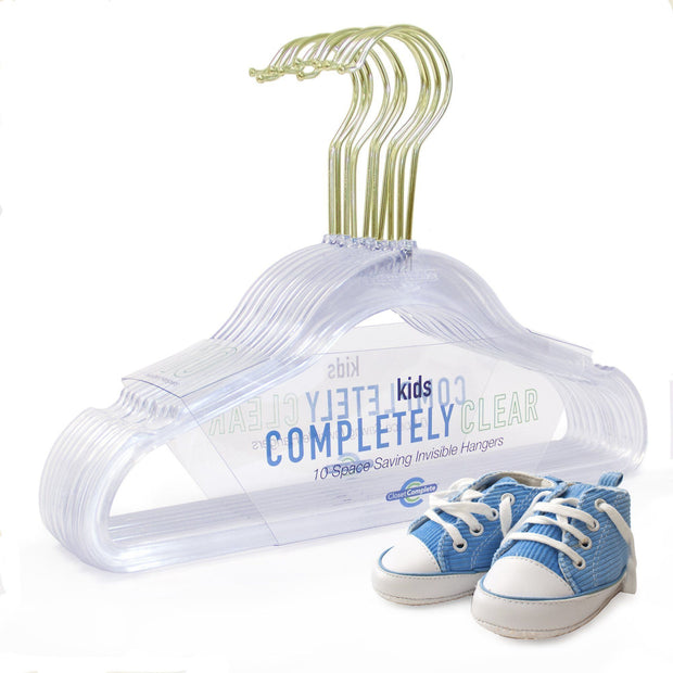 Closet Complete Acrylic Hangers 10 / Gold Kids/Baby Sized Completely Clear Acrylic Hangers