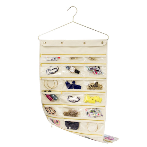 Closet Complete Closet Organization Gold 44 Pocket Oxford Canvas Hanging Jewelry Organizer