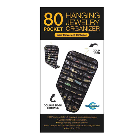 Closet Complete Soft Storage Black Canvas 80 Pocket Hanging Jewelry Organizer