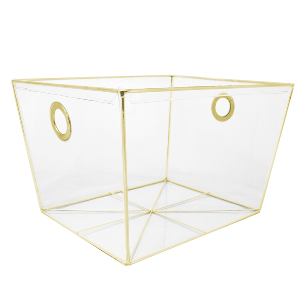 Closet Complete Invisible Storage 3pc Set / Gold 3pc Completely Clear Invisible Storage Bins / Tapered Totes