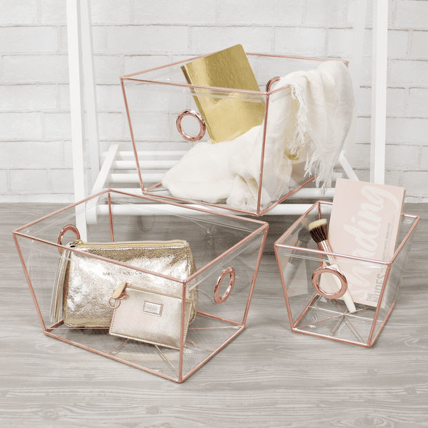 Closet Complete Invisible Storage 3pc Set / Rose Gold 3pc Completely Clear Invisible Storage Bins / Tapered Totes