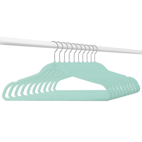 Closet Complete Velvet Hangers 10 / Tiffany Blue / Chrome Elite High Quality 70g Velvet Suit Hangers
