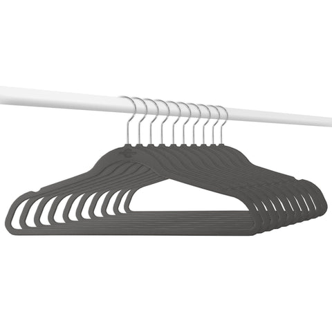 Closet Complete Velvet Hangers 10 / Heather Gray / Chrome Elite High Quality 70g Velvet Suit Hangers