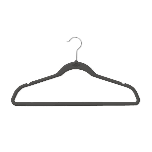 Closet Complete Velvet Hangers 25 / Black / Chrome Premium Heavyweight 80g Velvet Suit Hangers 71550