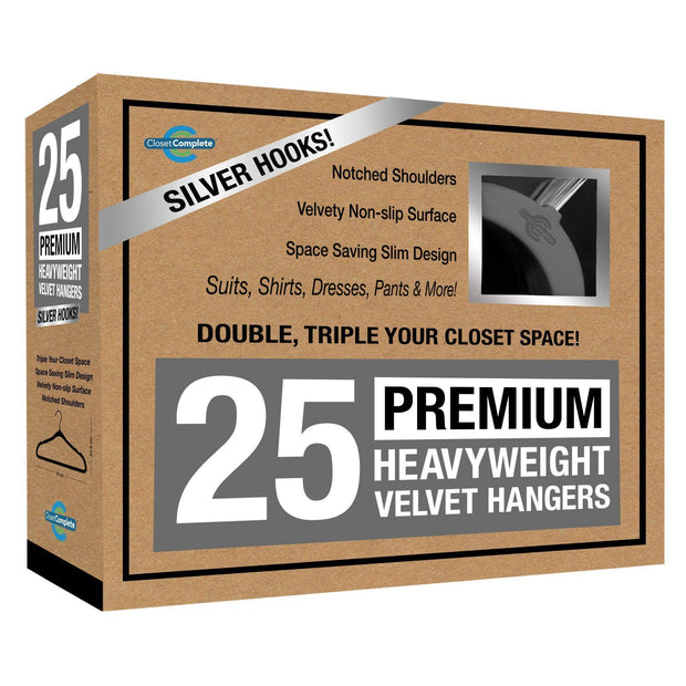 Closet Complete Velvet Hangers 25 / Heather Gray / Chrome Premium Heavyweight 80g Velvet Suit Hangers