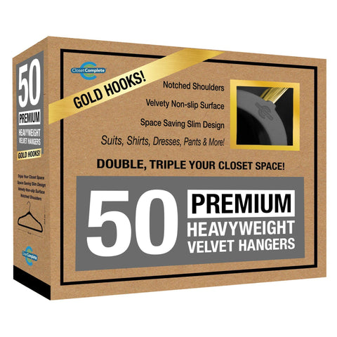 Closet Complete Velvet Hangers 50 / Heather Gray / Gold Premium Heavyweight 80g Velvet Suit Hangers