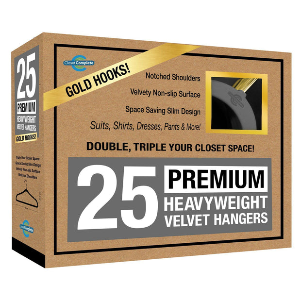 Closet Complete Velvet Hangers 25 / Heather Gray / Gold Premium Heavyweight 80g Velvet Suit Hangers