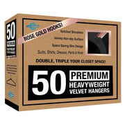 Closet Complete Velvet Hangers 50 / Black / Rose Gold Premium Heavyweight 80g Velvet Suit Hangers