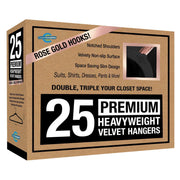 Closet Complete Velvet Hangers 25 / Black / Rose Gold Premium Heavyweight 80g Velvet Suit Hangers