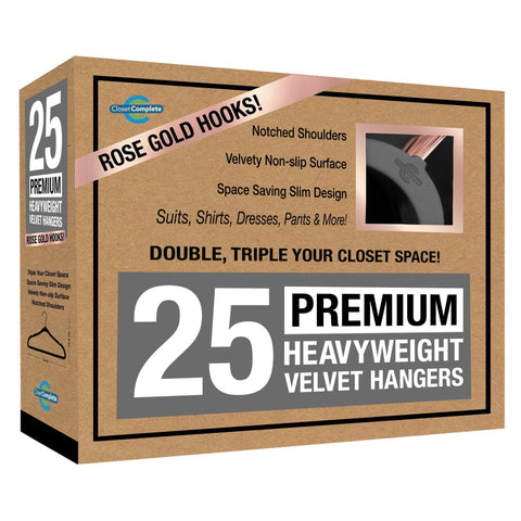 Closet Complete Velvet Hangers 25 / Heather Gray / Rose Gold Premium Heavyweight 80g Velvet Suit Hangers