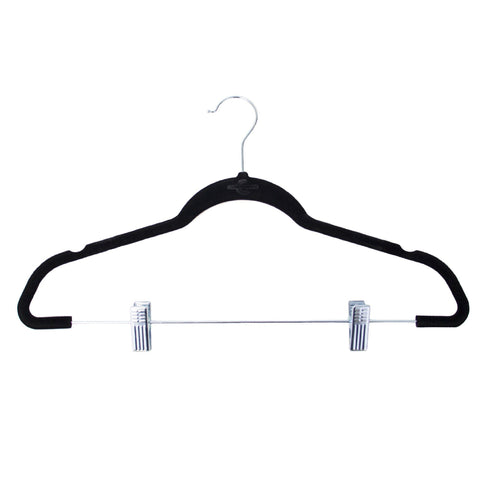 Closet Complete Velvet Hangers 5 / Black / Chrome Premium Heavyweight 90g Velvet Hangers with Clips