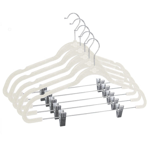 Closet Complete Velvet Hangers 5 / Ivory / Chrome Premium Heavyweight 90g Velvet Hangers with Clips