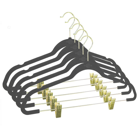 Closet Complete Velvet Hangers 5 / Heather Gray / Gold Premium Heavyweight 90g Velvet Hangers with Clips